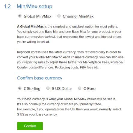 Global Min/Max price setup
