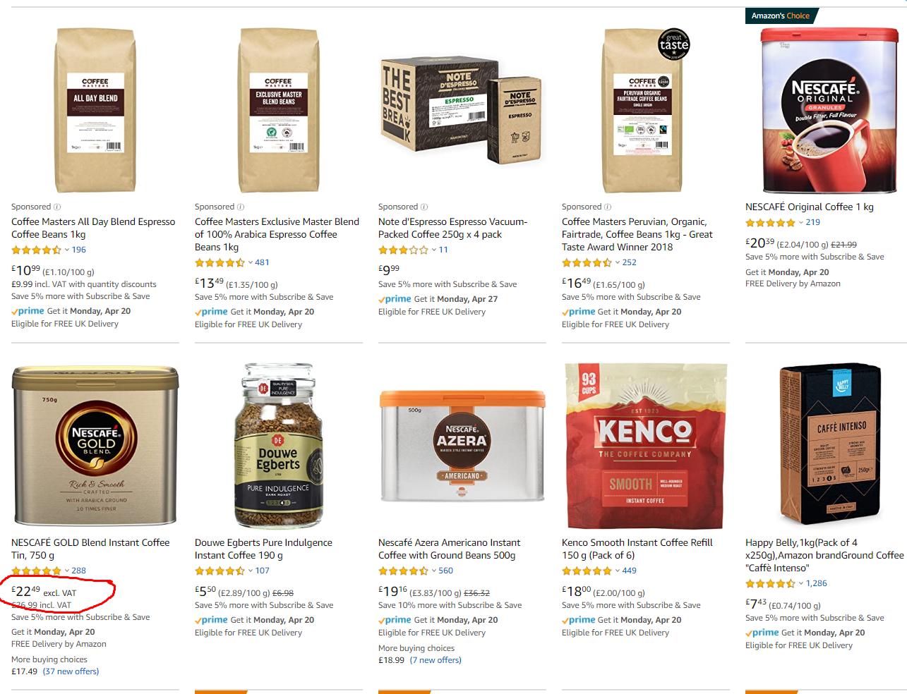 Amazon coffee VAT rate